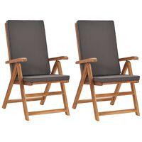 vidaXL Reclining Garden Chairs with Cushions 2 pcs Solid Teak Wood Grey