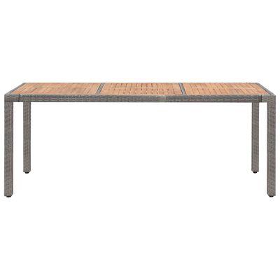 vidaXL Garden Table Grey 190x90x75 cm Poly Rattan and Solid Acacia Wood