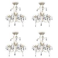 vidaXL Crystal Pendant Ceiling Lamp Chandeliers 4 pcs Elegant White