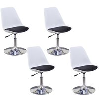 vidaXL Swivel Dining Chairs 4 pcs White and Black Faux Leather