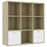 vidaXL Book Cabinet White and Sonoma Oak 98x30x98 cm Chipboard