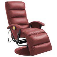vidaXL TV Massage Recliner Wine Red Faux Leather
