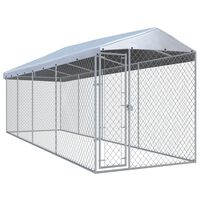 vidaXL Outdoor Dog Kennel with Roof 760x190x225 cm