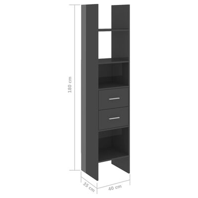 vidaXL Book Cabinet High Gloss Grey 40x35x180 cm Chipboard, Highglossgrey