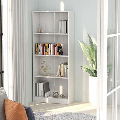 vidaXL 4-Tier Book Cabinet High Gloss White 60x24x142 cm Chipboard