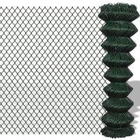 140351 vidaXL Chain Link Fence Steel 1,5x25 m Green