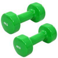 vidaXL Dumbbell 2 pcs 8 kg Cast Iron Green