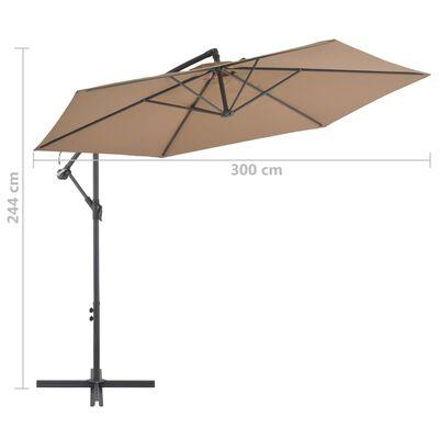 vidaXL Cantilever Umbrella with Aluminium Pole 300 cm Taupe