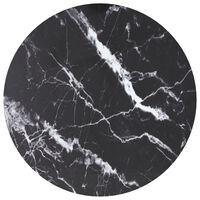 vidaXL Table Top Black Ø70x0.8 cm Tempered Glass with Marble Design