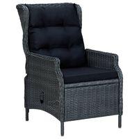 vidaXL Reclining Garden Chair with Cushions Poly Rattan Dark Grey