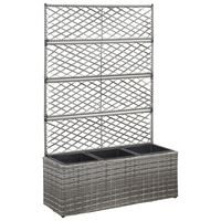 vidaXL Trellis Raised Bed with 3 Pots 83x30x130 cm Poly Rattan Grey