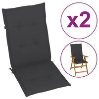 43177 vidaXL Garden Chair Cushions 2 pcs Anthracite 120x50x4 cm