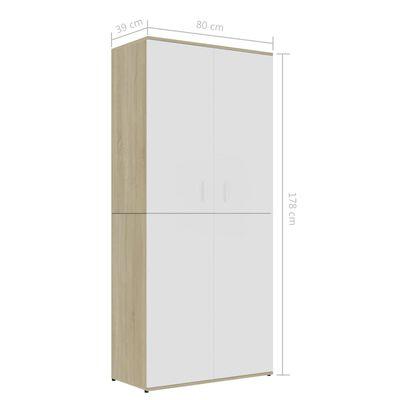 vidaXL Shoe Cabinet White and Sonoma Oak 80x39x178 cm Chipboard