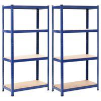 vidaXL Storage Shelves 2 pcs Blue 80x40x160 cm Steel and MDF, Blue