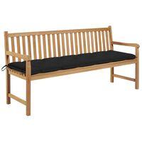 vidaXL Garden Bench with Black Cushion 175 cm Solid Teak Wood
