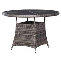 vidaXL Garden Table Grey 110x74 cm Poly Rattan