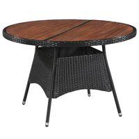 vidaXL Garden Table 115x74 cm Poly Rattan and Solid Acacia Wood