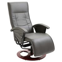 vidaXL Swivel TV Armchair Grey Faux Leather