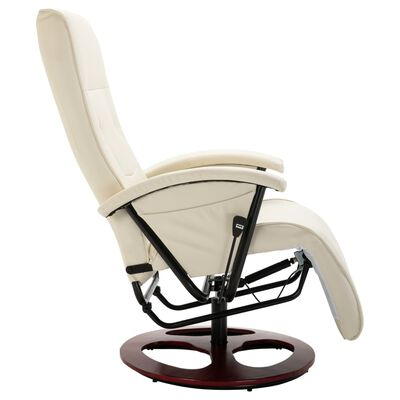 vidaXL Swivel TV Armchair Cream Faux Leather