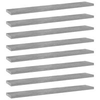 vidaXL Bookshelf Boards 8 pcs Concrete Grey 60x10x1.5 cm Chipboard
