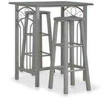vidaXL 3 Piece Bar Set Wood and Steel Anthracite
