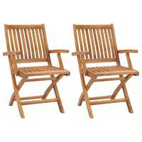 vidaXL Folding Garden Chairs 2 pcs Solid Teak Wood