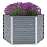 vidaXL Garden Raised Bed Galvanised Steel 129x129x77 cm Grey