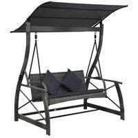 vidaXL 3-seater Garden Swing Bench with Canopy Poly Rattan Grey