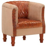 vidaXL Tub Chair Brown Real Leather and Solid Mango Wood