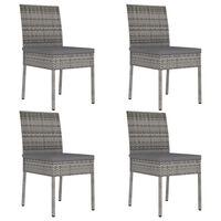 vidaXL Garden Dining Chairs 4 pcs Poly Rattan Grey