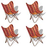 vidaXL Butterfly Chairs 4 pcs Multicolour Chindi Fabric