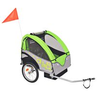 vidaXL Kids' Bicycle Trailer Grey and Green 30 kg