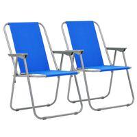 vidaXL Folding Camping Chairs 2 pcs 52x59x80 cm Blue