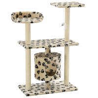 vidaXL Cat Tree with Sisal Scratching Posts 95 cm Beige Paw Prints