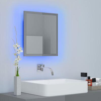 vidaXL LED Bathroom Mirror High Gloss Grey 40x8.5x37 cm Chipboard