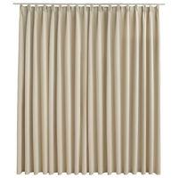 vidaXL Blackout Curtain with Hooks Beige 290x245 cm