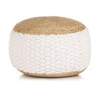 vidaXL Woven/Knitted Pouffe Jute Cotton 50x35 cm White