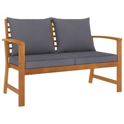 vidaXL Garden Bench 120 cm with Dark Grey Cushion Solid Acacia Wood
