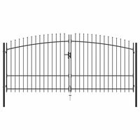 vidaXL Double Door Fence Gate with Spear Top 400x225 cm
