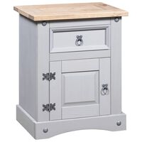 vidaXL Bedside Cabinet Mexican Pine Corona Range Grey 53x39x67 cm
