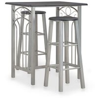 vidaXL 3 Piece Bar Set Wood and Steel Black