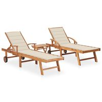 vidaXL Sun Loungers 2 pcs with Table and Cushion Solid Teak Wood