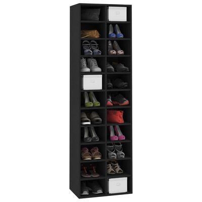 vidaXL Shoe Cabinet Black 54x34x183 cm Chipboard