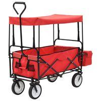 vidaXL Folding Hand Trolley with Canopy Steel Red