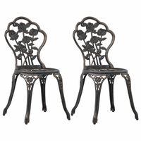 vidaXL Bistro Chairs 2 pcs Bronze Cast Aluminium