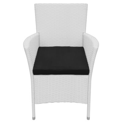 vidaXL Garden Chairs 6 pcs with Cushions Poly Rattan Cream White