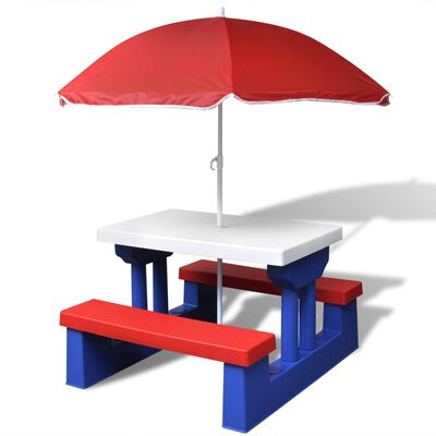 vidaXL Kids' Picnic Table with Benches and Parasol Multicolour
