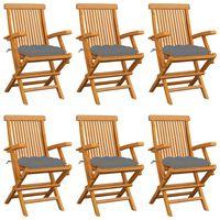 vidaXL Garden Chairs with Grey Cushions 6 pcs Solid Teak Wood
