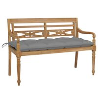 vidaXL Batavia Bench with Grey Cushion 120 cm Solid Teak Wood