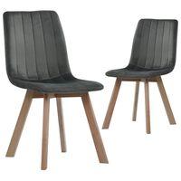 vidaXL Dining Chairs 2 pcs Grey Velvet